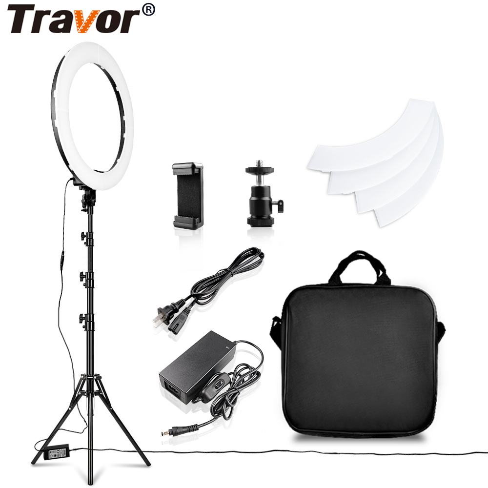 Travor LED Ring Light 18 Inch Ring Lamp Photo light ring With Tripod Phone holder for YouTube makeup Studio photography ringligt