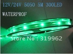 wholesale 12V/24V 5050 SMD 60led/m Flexible Light led strip lights waterproof IP65 100M/lot,