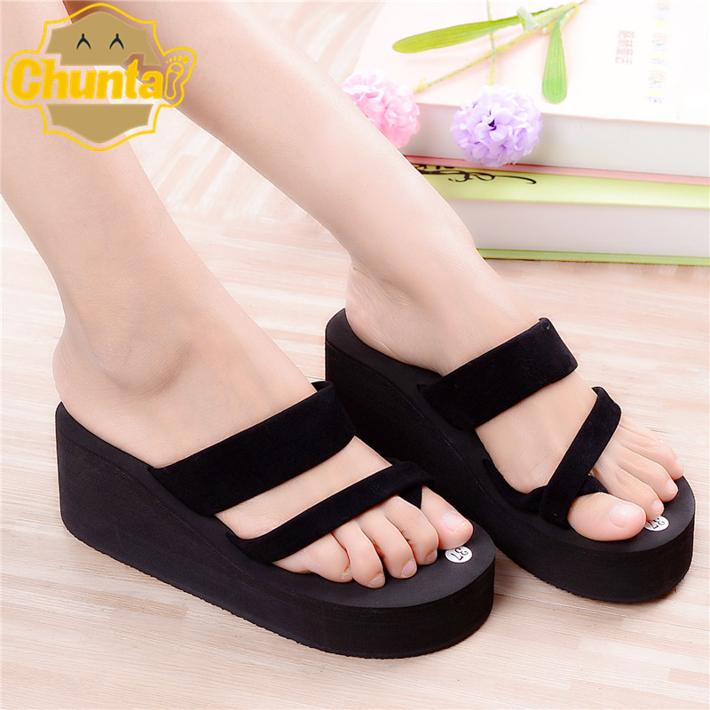 2017 The New Summer Women's High-heeled Sandals Bandage Muffin Bottom Slip Beach Sandals Women's Shoes Women's Flip-flops trendy boho chic tie dye blotch pattern fold over figure fitting long maxi skirt