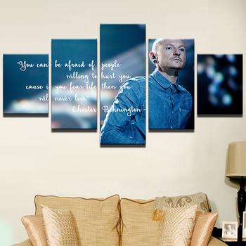Nowoczesne dekoracje do domu ściana artystyczna rama Chester Bennington plakat HD wydrukowano Frontman malarstwo 5 sztuk Linkin Park Canvas