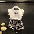 &E-babe&Wholesale Girl Summer 2 Pcs Set Baby Girls Bow T-Shirt+Striped Shorts Child Clothing Sets Kids Suit 10 Pcs Lot Free Ship