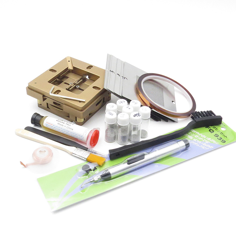 BGA rework fixtures Kit 90x90 Universal Reballing Bga Stencil Kit for Laptop Gameconsole 10 pcs Stencil + free Gifts kvp 24200 td 24v 200w triac dimmable constant voltage led driver ac90 130v ac170 265v input