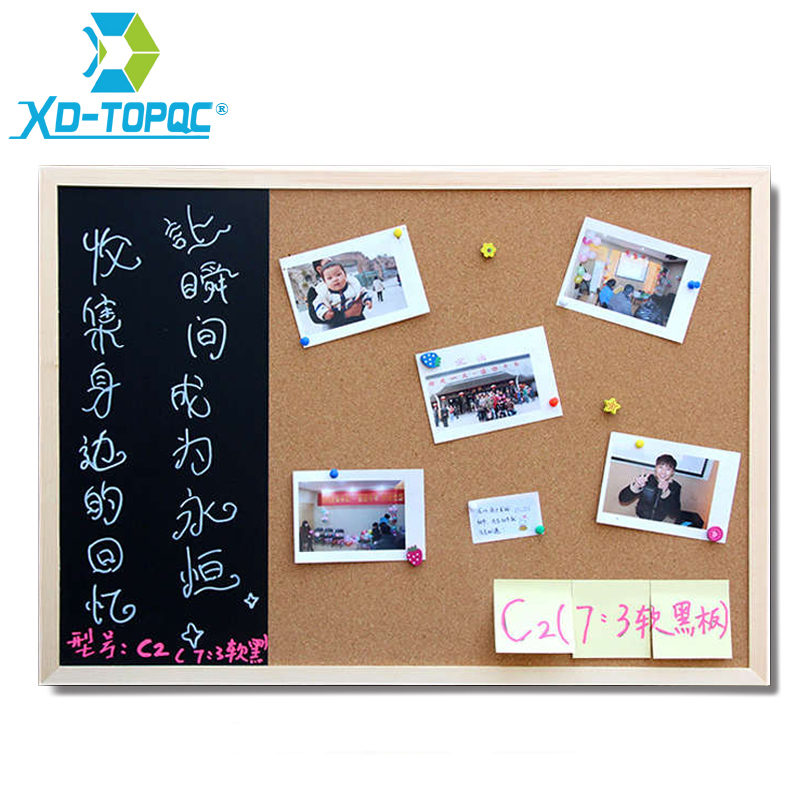 New 30*40cm Bulletin Board Blackboard Cork Board Combination 1:3 Wooden Frame Message Board Home Photos Write Notes Chalkboard free shipping 2017 natural bulletin combination cork board and chalk blackboard kitchen office supplier 30 40cm home decorative
