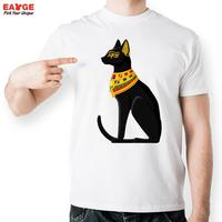 Mystieke Egyptische Zwarte Kat Golden T-shirt Ontwerp Creatieve Casual T-shirt Top Cool Novelty Tshirt Fashion Mannen Gedrukt Stijl Tee