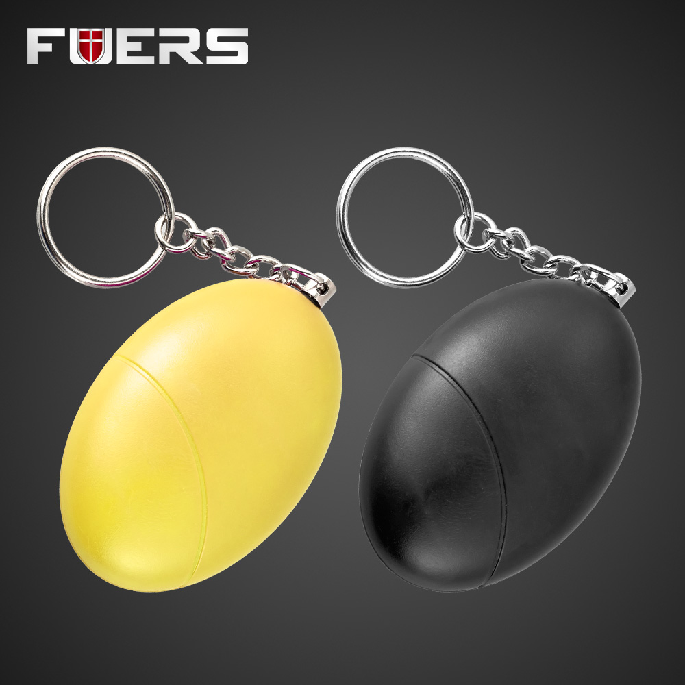 2pcs Anti-Attack Egg Shape Anti-Defense Anti-Rape Security Protect Alert Alarm System Personal Keychain Anti Wolf Black+Yellow 5 pcs pink sos personal angel wings alarm anti attack protection safety personal security alarm system keychain