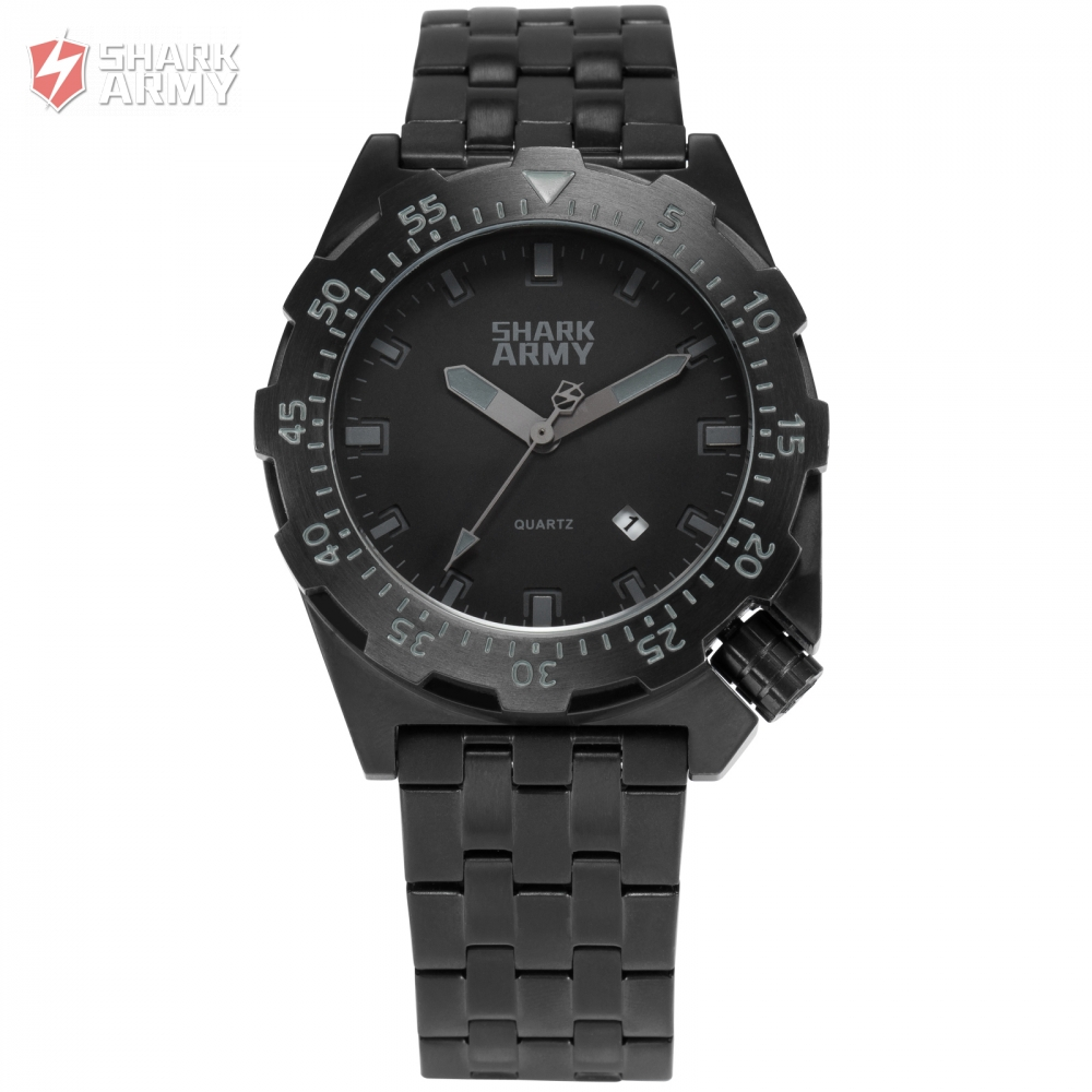 font b SHARK b font ARMY Full Black 10ATM Water Resistant Auto Date relogio masculino