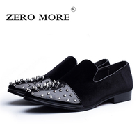 ZERO MORE New Fashion Luxury Slip On Mens Shoes Casual Rivet Spiked Loafers Men Microfiber Flock Pointed Toe Driving Men Shoes