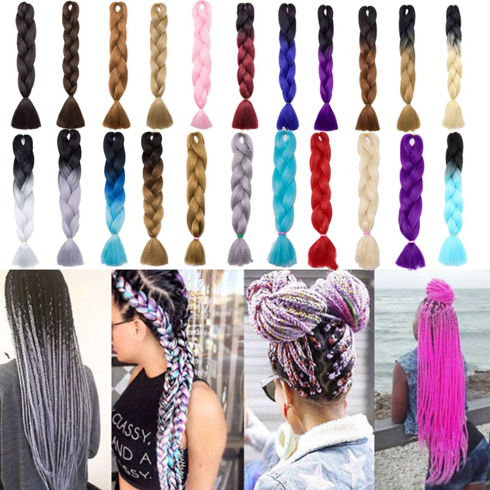 Hair Braids Jumbo Braids Selfless S-noilite 24 One Piece Jumbo Braids Synthetic Hair Extensions Ombre Kanekalon Synthetic Crochet Hair Purple Pink Blue Green Red