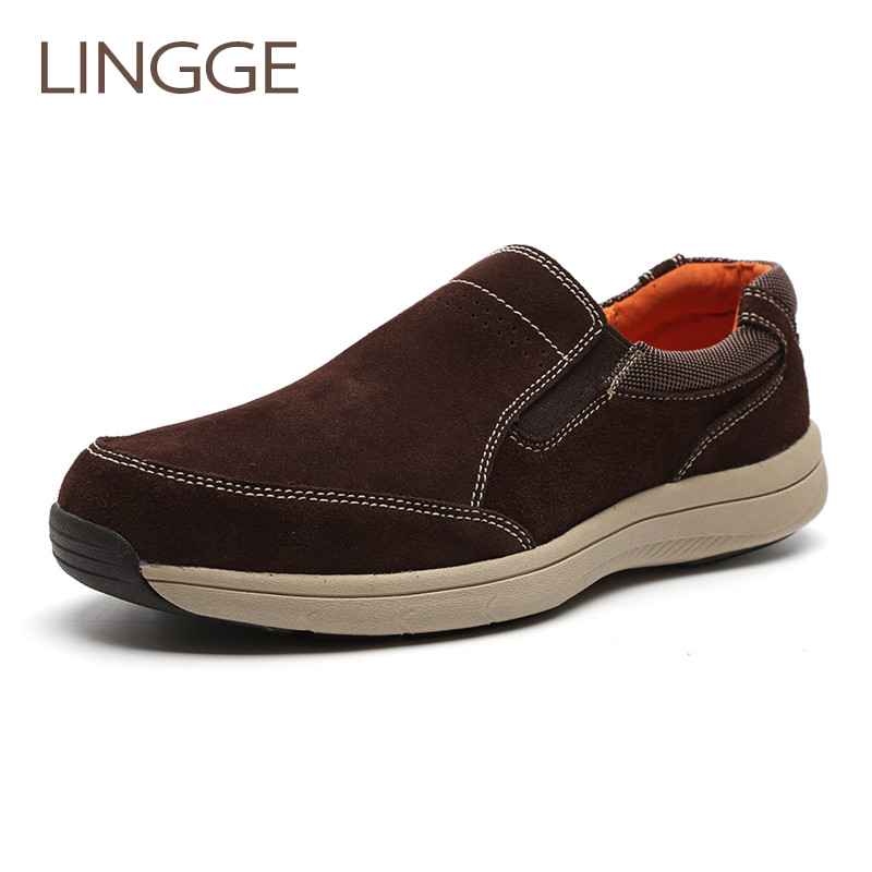 LINGGE Brand Men S Shoes Leisure Loafers Breather Men Shoes Genuine Leather Shoe For Men Light