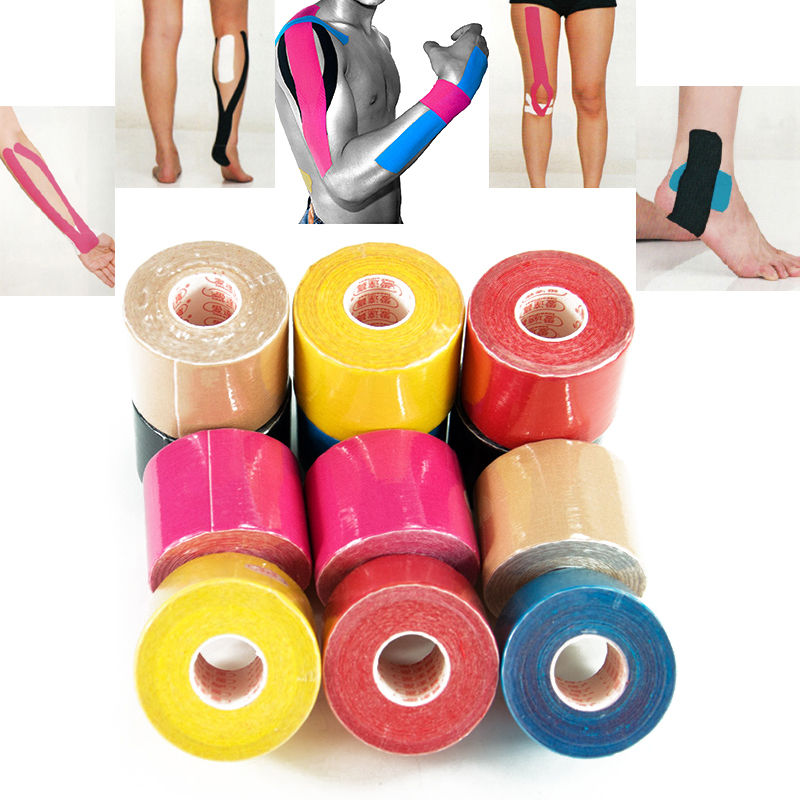 Free Shipping 5cm x 5m Sports Tape Kinesiology Tape Cotton Elastic Adhesive Muscle Bandage Care Physio Strain Injury Support