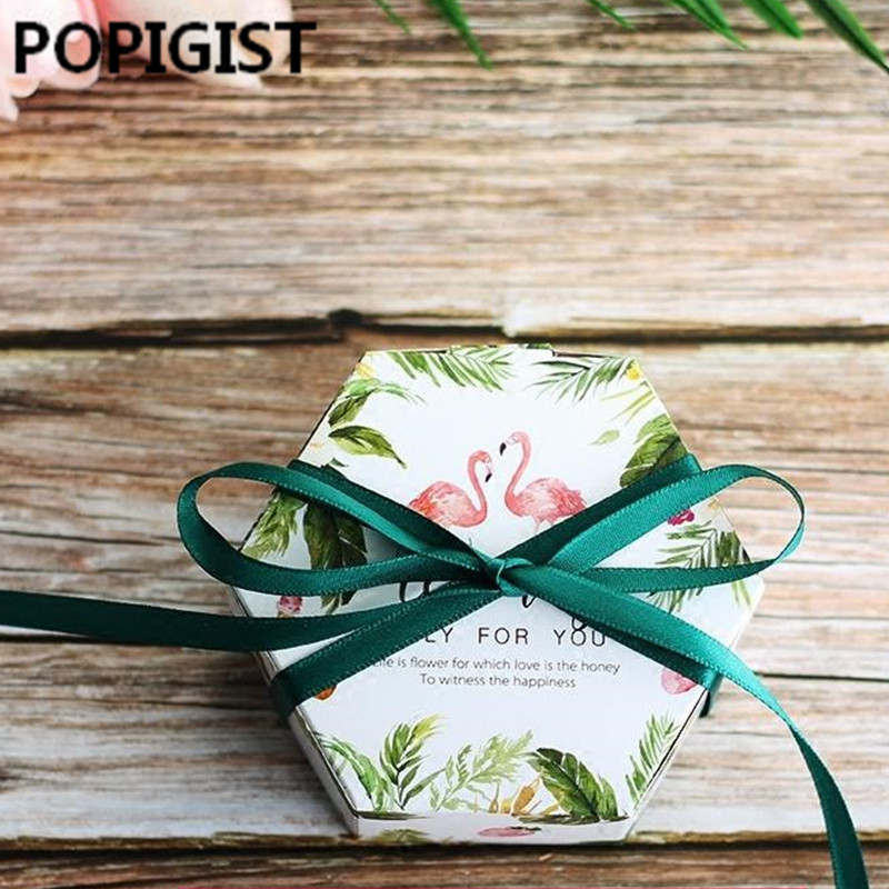 Aliexpress Buy Flamingo Green Forest Leaf Candy Box Party