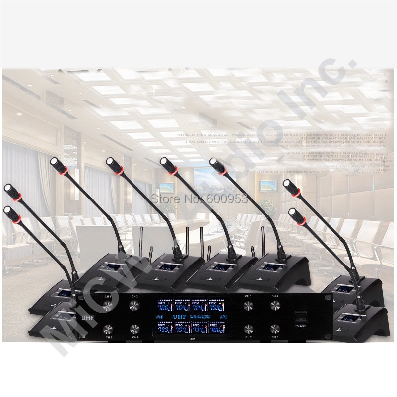 MiCWL Audio New upgrade 8 Desk Wireless Digital Conference Meeting Room Microphone System 8 Table Mic Unit V800 micwl d400 uhf 4 gooseneck table uhf wireless conference microphones digital system for big meeting room