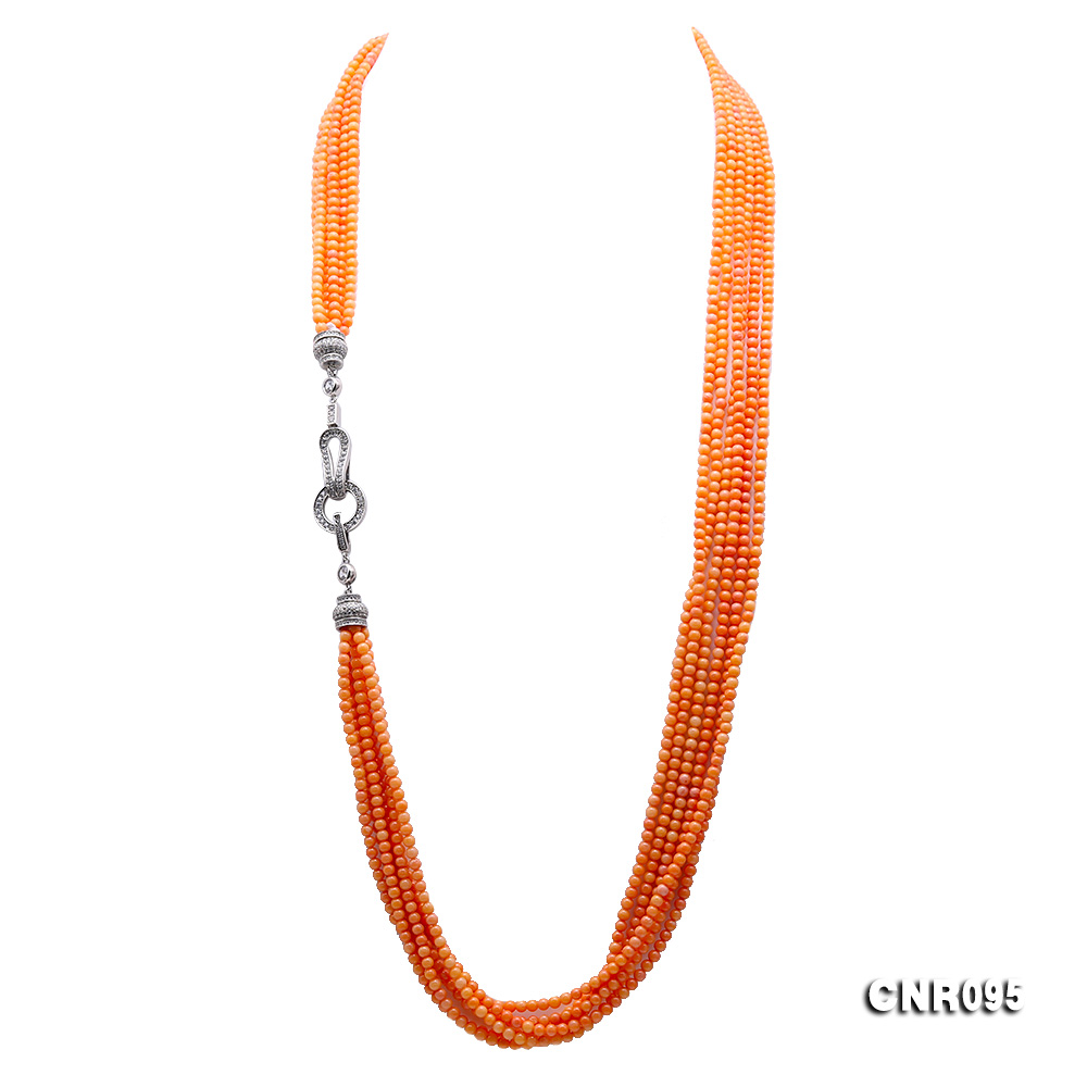 JYX Elegant Six Strand 6 Rows Round 3 5mm Orange Coral Long Necklace Sweaters Dress Accessories For Women Mother Gift 32 quot in Necklaces from Jewelry amp Accessories