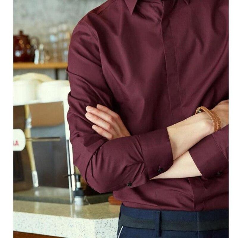 Formelle Rouge Chemise Haute Robe Qualité Beau Vin breasted Chemises Manches La Single Longues Dernière De Hommes Style À Personnalisé qvzTPzw4W
