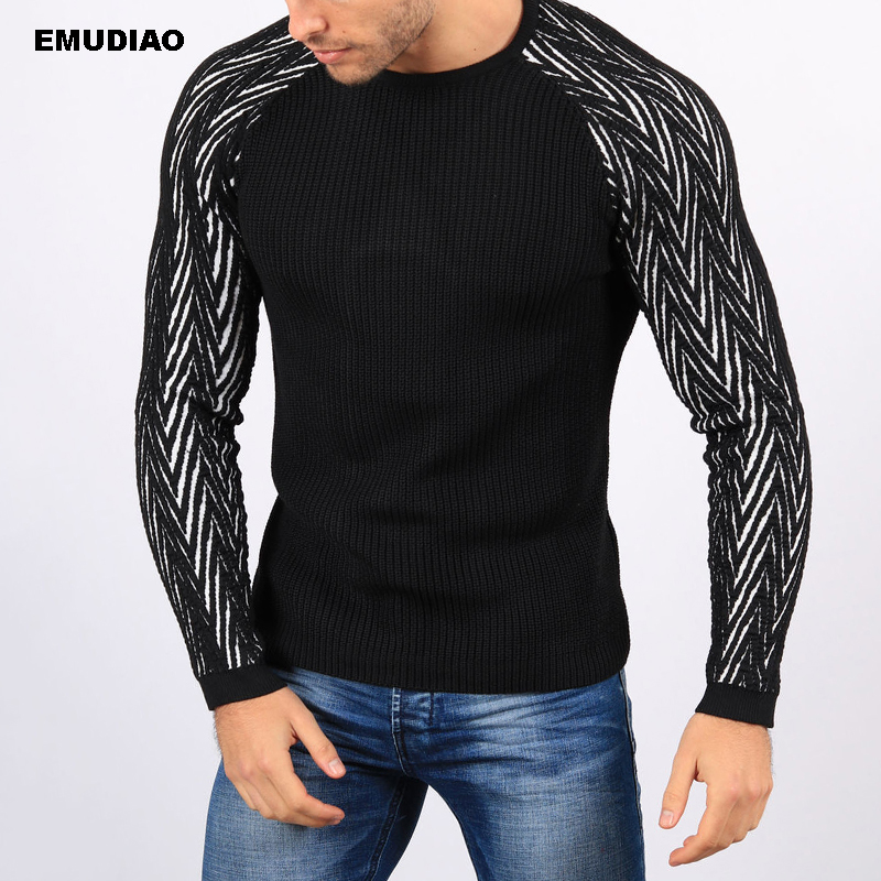 Striped Sweater Men Patchwork Knitted Pullovers Men's Sweaters 2019 Autumn Winter Slim Fit Casual Knitwear Sueter Pull Homme 3XL