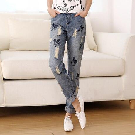 ФОТО New Fashion Women Jeans Cargo Pants Denim High Waist Slim Brand Capris Ripped Trousers Femme Dungarees Pantalones Plus Size