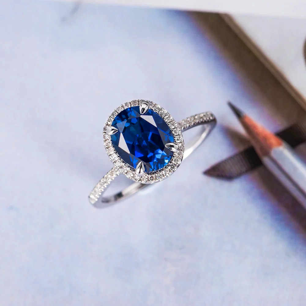 Boho Female Big Blue Oval Ring Fashion 925 Silver Vintage Wedding Rings For Women Promise Zircon Stone Engagement Ring