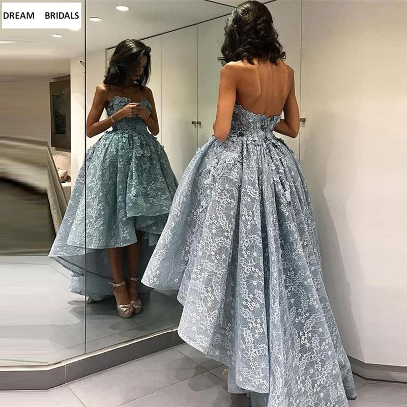 Nouveauté Robe de Cocktail sans bretelles robes de soirée dos nu dentelle cheville longueur Robe de Cocktail 2019