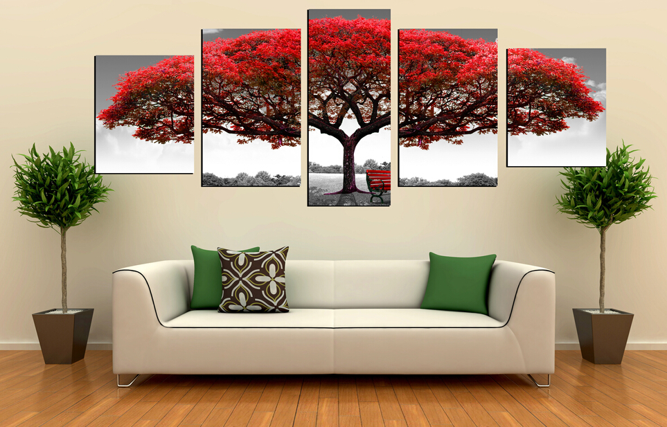Online Buy Wholesale Red Tree Painting From China Red Tree