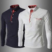 Британской моды Для мужчин рубашка в горошек 2016 Новинка Европейский Стиль Рубашки для мальчиков Для мужчин Slim Fit Повседневное рубашка с дли...