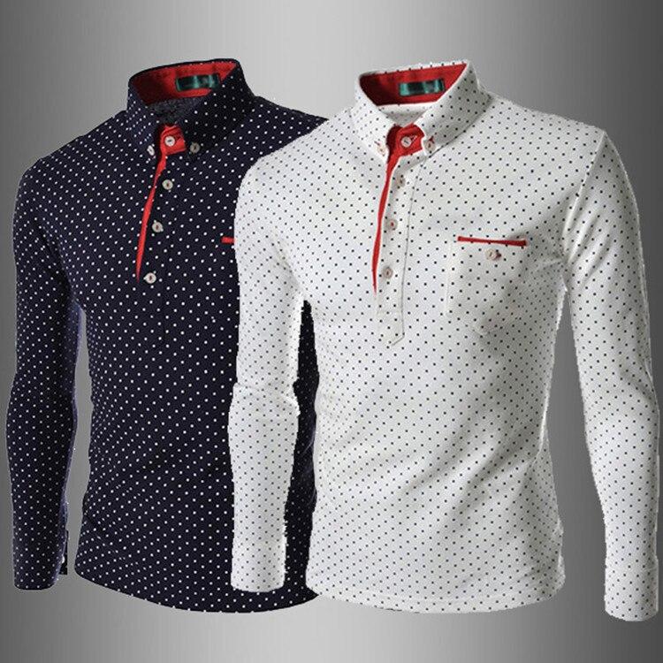 74020ee74bf British Fashion Men Shirt Polka Dot Blouse New European Style Shirts Men s  Slim Fit Casual Long Sleeve Shirt Camisa Masculina