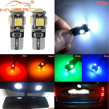цена на 20X T10 5050 5SMD White Blue Red Yellow Car Led Show Wide Door Light Reading Parking Bulb Canbus W5w 194 Error Free DC 12V Bulbs