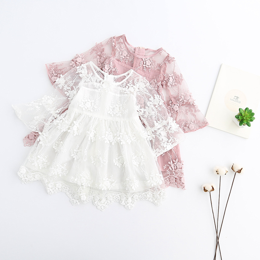 Everweekend Girls Lace Party Dress Bell Sleeve Ruffles Pink and White Princess Holiday Dress Sweet Children Fashion Dress 45 in 1 electronics repair tool kit multi bits screwdriver set with tweezers spudger for laptop cellphone tablet repair