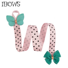 Sweet Kids Hair Bow Holder Ornament Accessories Pokla Dots Grosgrain Ribbon Bows Holders Barrettes CLips 1Pc