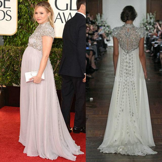 Pregnant Evening Dress Kristen Bell Gave Gown Celebrity Dresses ...