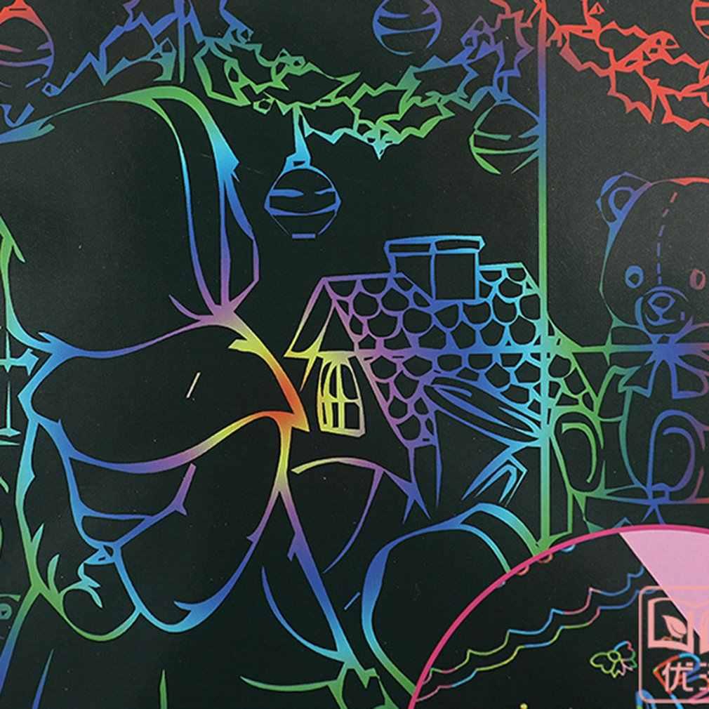 Papel de pintura de Arte de rasguño mágico con palo de dibujo niños juguete educativo para bebé niña Niño