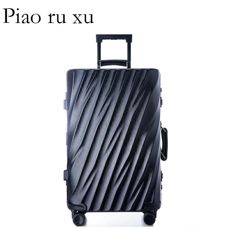 """Moda 7 color 20 """"22"""" 24 """"26"""" 29 """"marco de aluminio VS equipaje duro de policarbonato equipaje maleta equipaje rodante-in Maletas duras from Maletas y bolsas    3"""