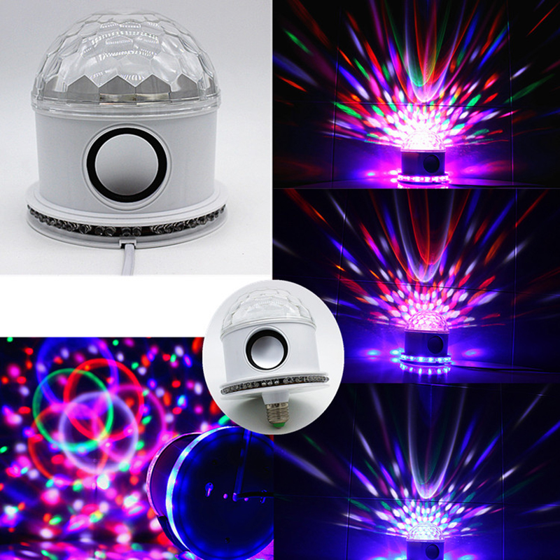 Bluetooth Music Crystal Magic Ball Stage Lamp 10W RGB Sound Control LED Stage Effect Lighting DJ Disco Party Projector Lights