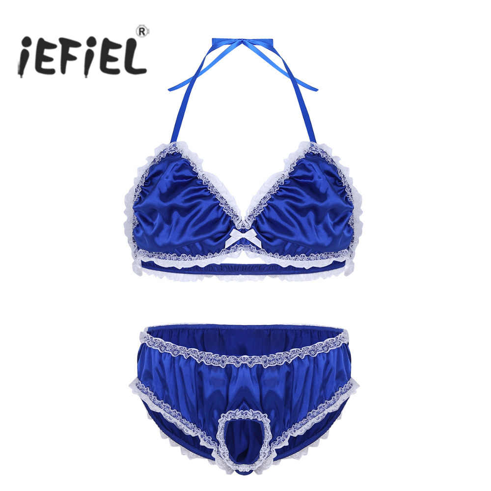 cce8f27c167e5 Detail Feedback Questions about Mens Shiny Sissy Satin Ruffle Lace Lingerie  Exotic Set Male Bra Top with Open Penis Briefs Underwear Underpants Sexy Gay  ...