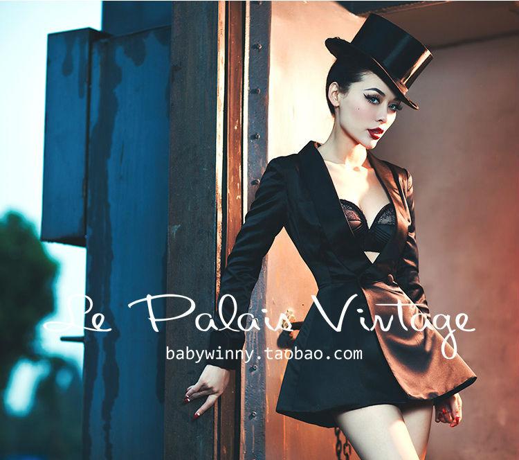 Le Palais Vintage elegant classic show thin silk waist skirt suit jacket smoking suit