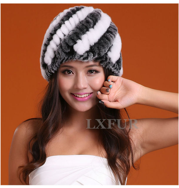 2017 New Lady Knitted Rabbit Fur Hats With Stipes Color Caps Girls Winter Warm Headwear Most Valuable Hat AU00235