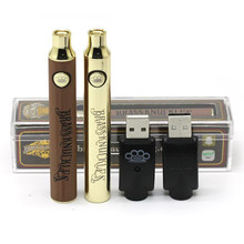 350pcs/lot CBD BK 650mah 900mah Vape Battery Gold Wood 510 Thread Vape Pen USB Charger Crystal Pack For CBD Thick Oil Cartridges(China)