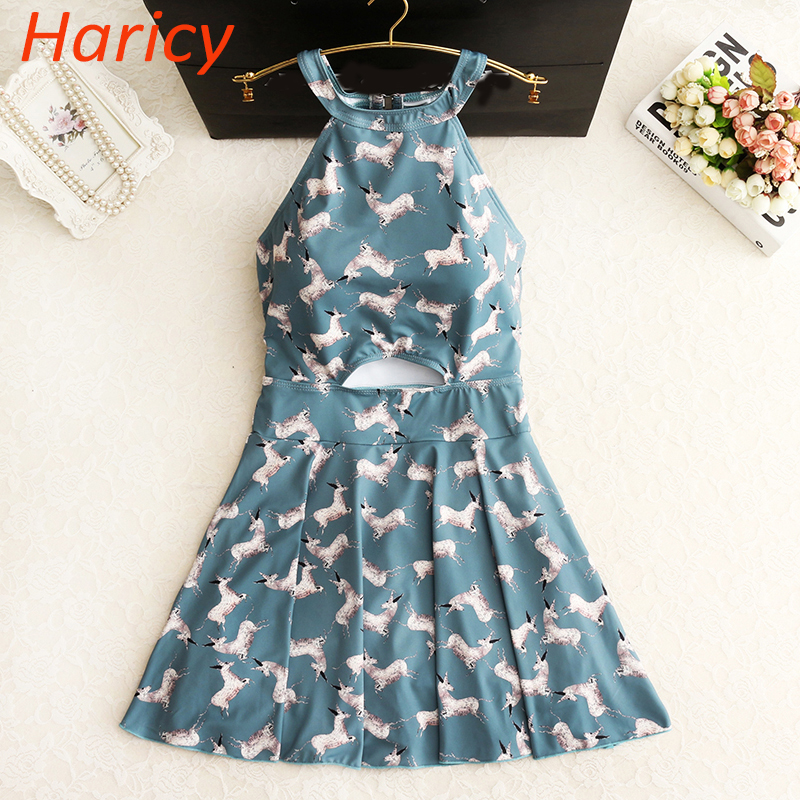 2018 New Cute Girls Floral  Plus Size One Piece Swimwear Dress Sexy Bathing Suit Swimsuits Beach Wear High Neck Skirt Swimming