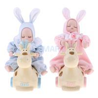 Porcelain Sleeping Baby Doll Shaking Baby Doll Plush Rabbit Deer Model Music Box Home Decoration