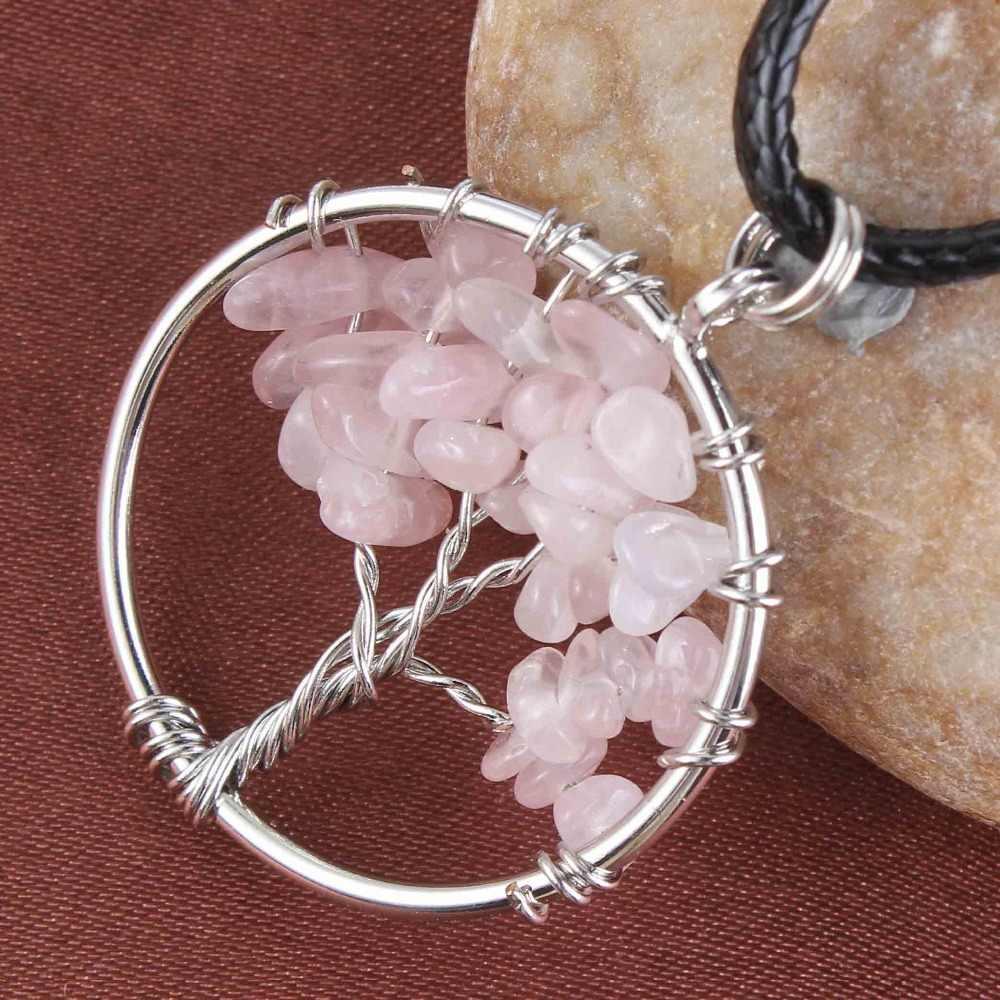 KFT posrebrzany drut owinięty drzewo życia uzdrawiający kryształ kwarcowy fioletowy ametysty okrągły Chakra Reiki kamień naszyjnik