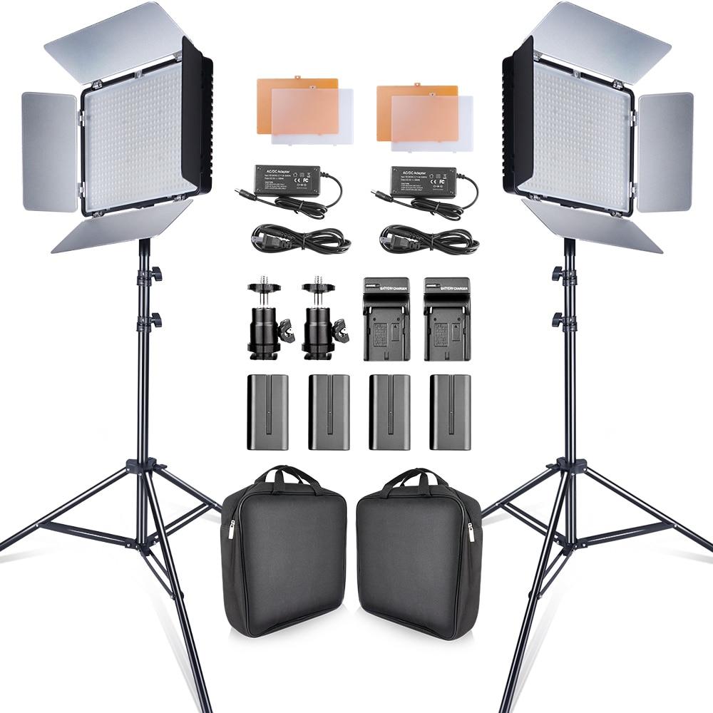 Travor 2set 600pcs studio camera photo light 3200K 5500K CRI93 led video light kit with 2m