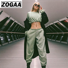 ZOGGA Midriff-baring Women Jogging Sets O-neck Elastic Cord Female Sport Suit Spandex Wicking Fabric Running Suits women set(China)