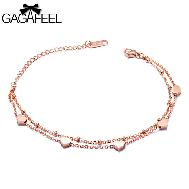 Gagafeel Heart Bracelets For Women Rose Gold Color Bracelet Bangles Stainless Steel Chain