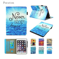 Case For IPad Mini 1 2 3 Pocaton Painting Luxury Flip Stand Case PU Leather Tablet