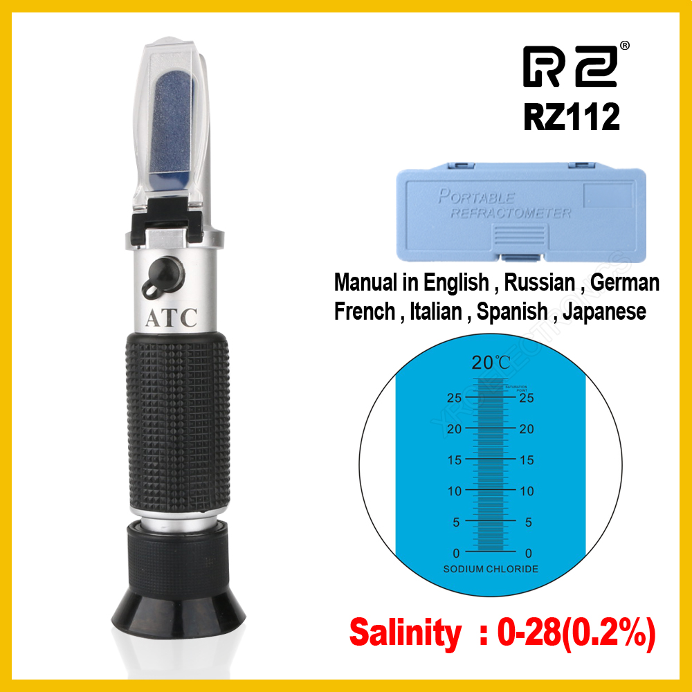 RZ Refractometer Optical Salinity Concentration meter salt Food Sodium Chloride Mariculture Handheld RZ112  0~28%RZ Refractometer Optical Salinity Concentration meter salt Food Sodium Chloride Mariculture Handheld RZ112  0~28%