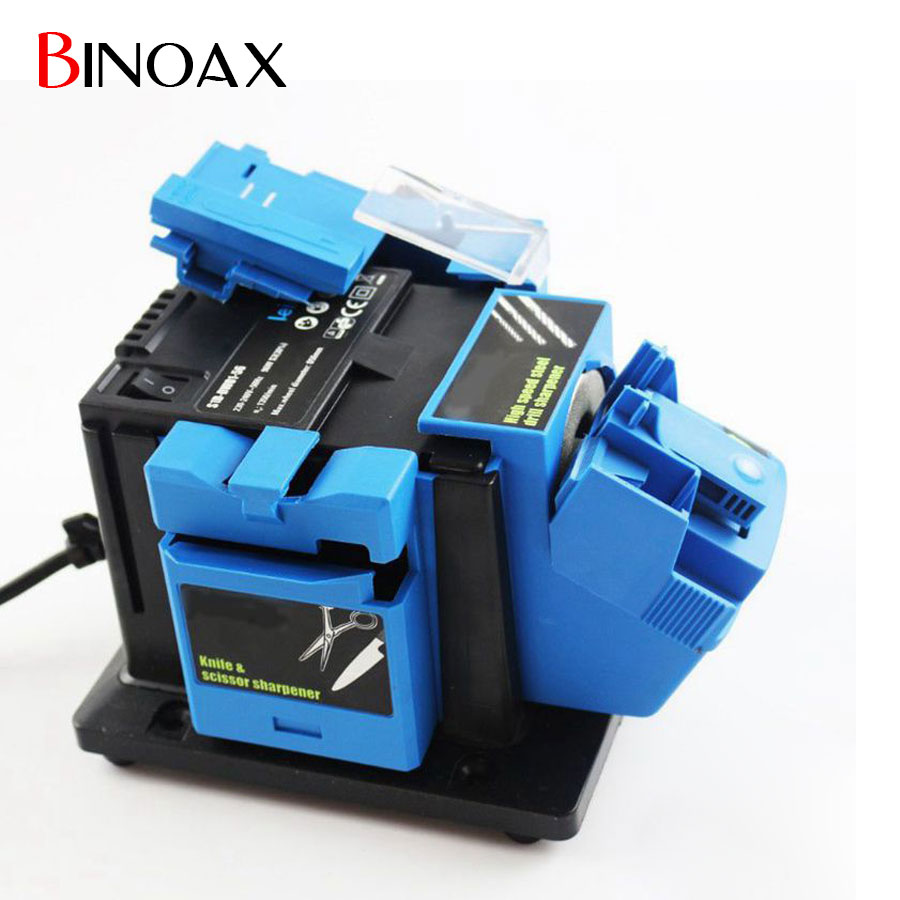 Binoax Multifunction Electric Knife Drill Sharpener Machine Knife & Scissor Sharpener Household Grinding Tools With Retail Box knife sharpener bench vise woodworking fixed angle sharpener grinding machine woodworking fixed angle sharpener