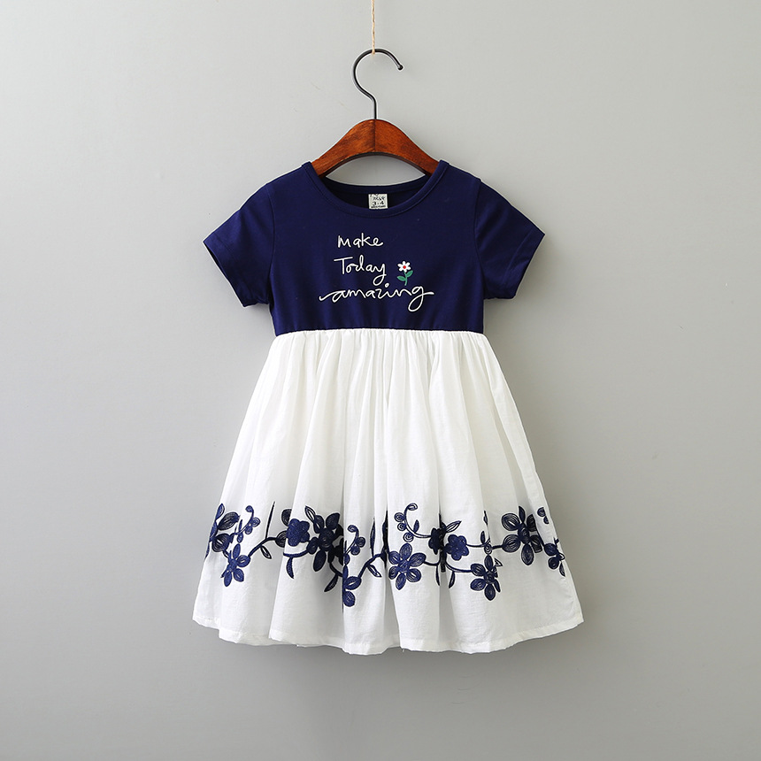 Hurave Casual cotton patchwork chiffon Dresses Girl Printing O-neck embroidery Dress Clothes Children short Sleeve clothing vintage v neck short sleeve butterfly print chiffon dress for women