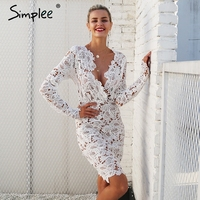 Simplee Sexy V Neck Lace Dress Women Floral Perspective Vintage Winter Dress Autumn Long Sleeve Bodycon