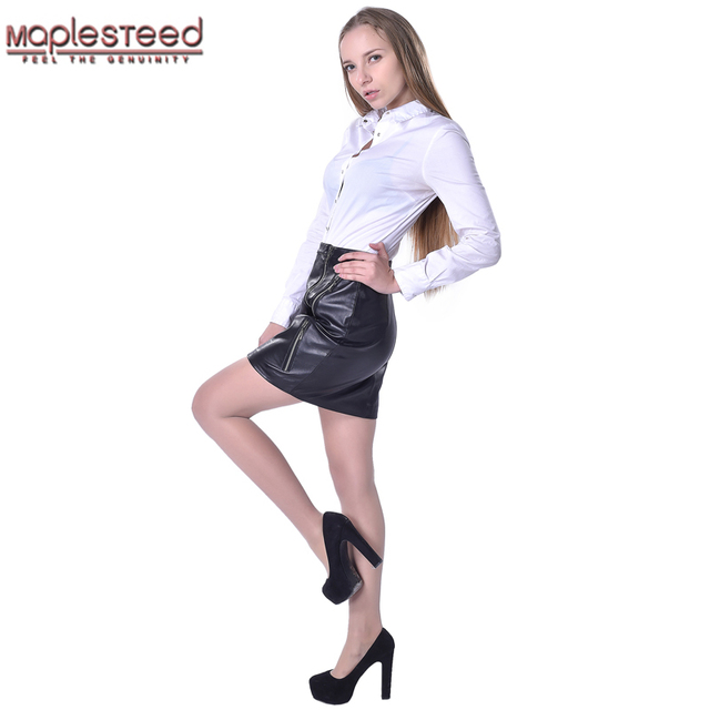 Maplesteed бренд Для женщин кожаная юбка 100% овчины модные черные узкие  высокие waistl Женская кожаная c588340140b