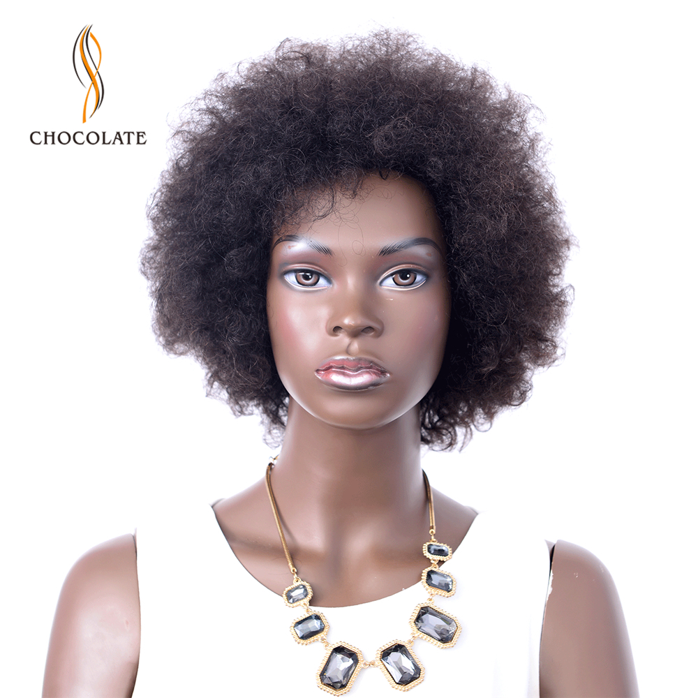 Short Human Hair Wigs Brazilian Remy Hair Afro Kinky Curly Wigs For Black Color Brown Wig Human Hair Women Free Shipping