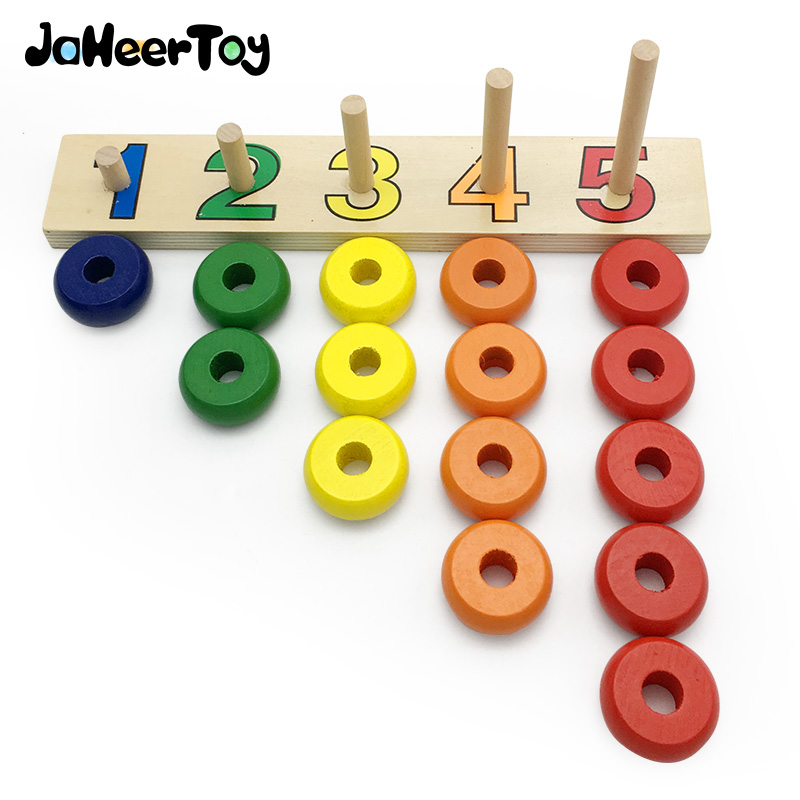 JaheerToy Baby Math Toys for Children 1-5 Count Montessori Educational Wooden Toy for Kids 2-3-4 Years Old Gifts